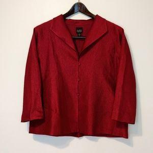 EUC Eileen Fisher Red Blazer 3/4 sleeve